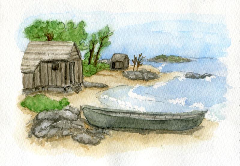 Watercolour Practice - Seashore by Ninelyn