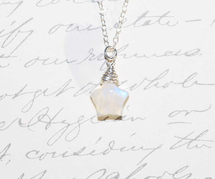 Star shaped rainbow moonstone necklace by heyindianapolis on star shaped rainbow moonstone necklace by heyindianapolis mozeypictures Image collections
