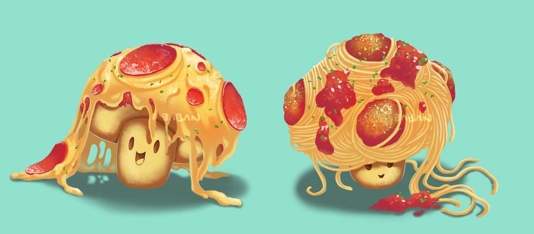 Pizza Pasta Shrooms by BabaKinkin