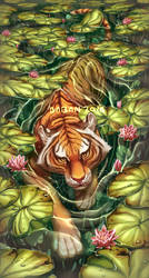 Tiger in the Lilies by BabaKinkin