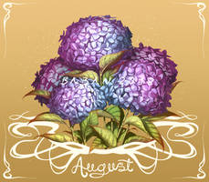 August Hydrangeas by BabanIllustration