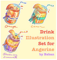 Angerine Twitch Commission - Drinks Tier Set by BabanIllustration