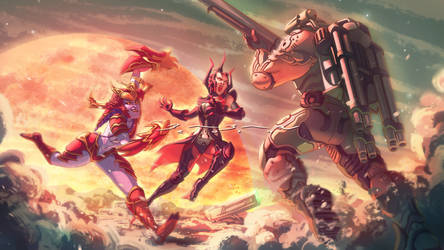 Doomguy vs Shyvana and Elise Commission by BabanIllustration