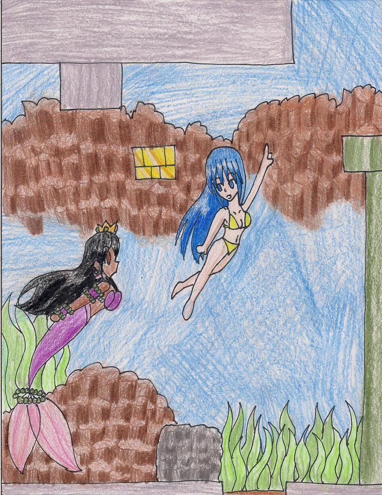 Anelia and Miyami- Underwater SMB3 Level by LilacPhoenix