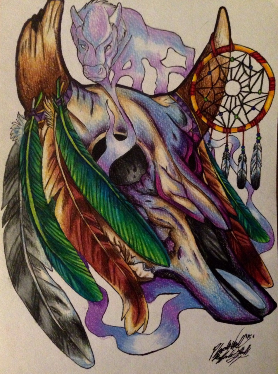 buffalo skull by pladywolf82