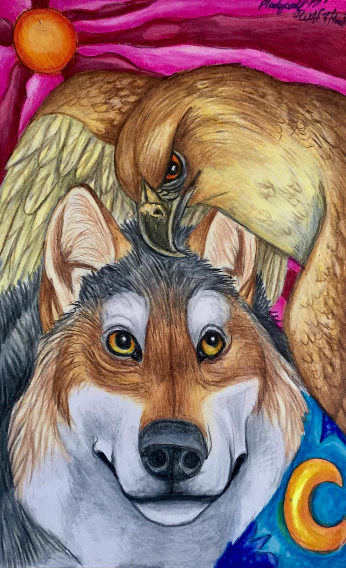 Wolf And hawk by pladywolf82
