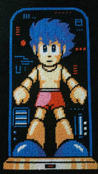 Rock (Mega Man) Cross Stitch  by Karma-Pudding