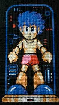 Rock (Mega Man) Cross Stitch