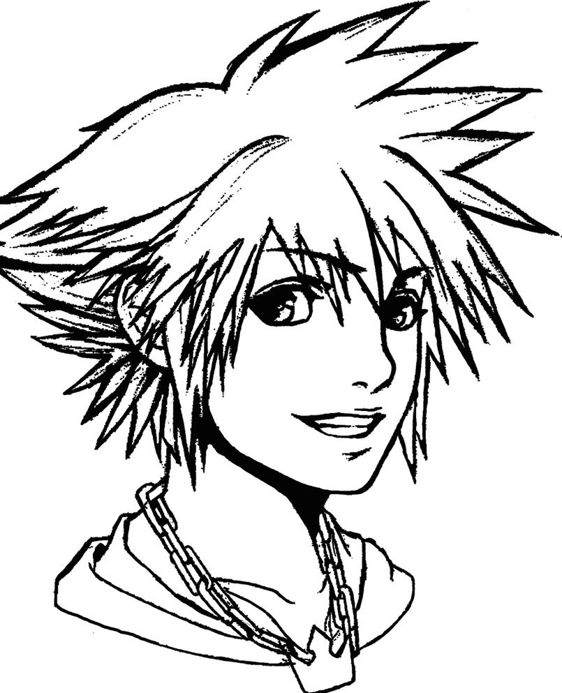Sora Kingdom Hearts Lineart : Kingdom hearts sora by tranced on deviantart