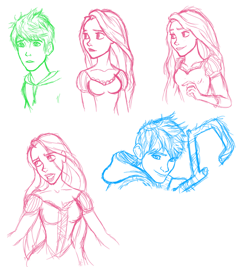 Jack and Rapunzel Sketches by Markiehh