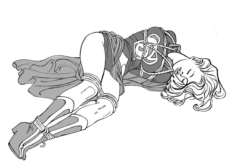 Supergirl tied up and out cold by monsieurpaul
