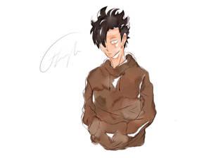 watercolor kuroo here u go