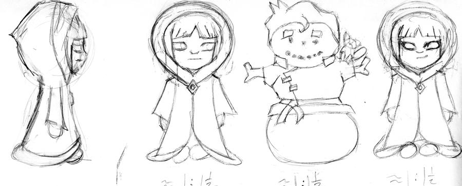 Eska and Desna with Snowman Bolin chibi sketch by b1938dc