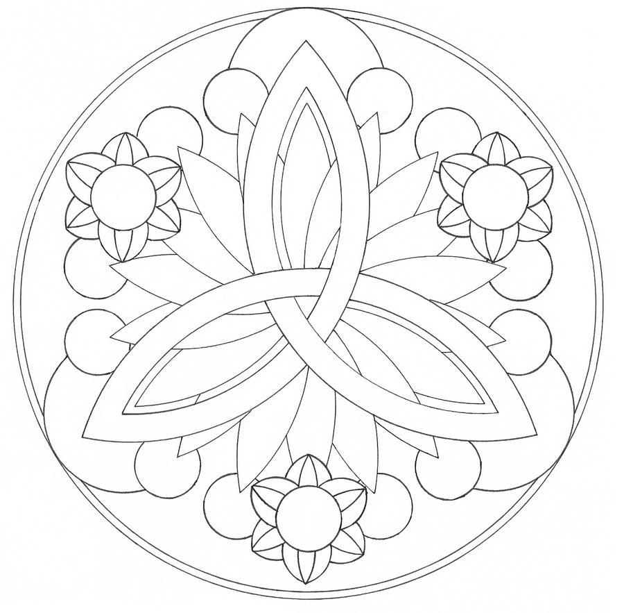 Mandala lines by hira akami on deviantart for Simple mandala coloring page