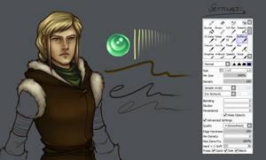 Sketch-line-color brush settings for SAI