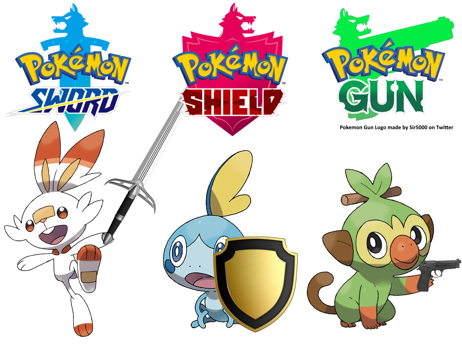 Pokemon Sword Shield And Gun By Thegamerlover On Deviantart Check out inspiring examples of grookey_with_a_gun artwork on deviantart, and get inspired by our community of talented artists. pokemon sword shield and gun by