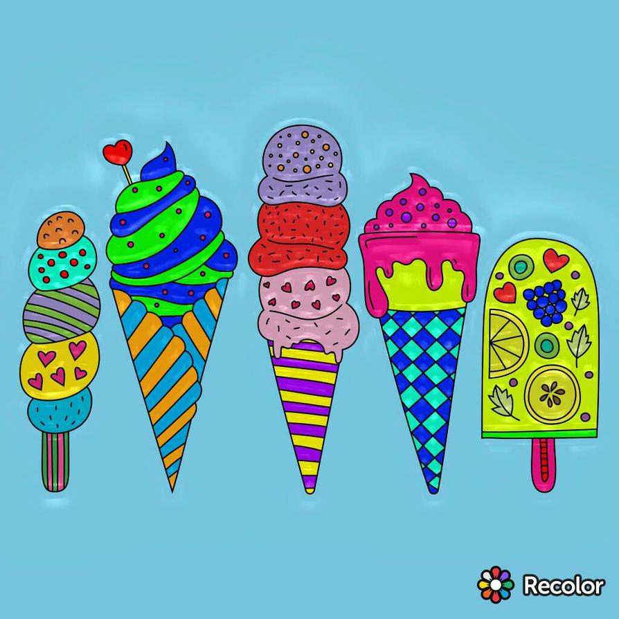 4 Ice Creams and a Popsicle by SamaHafiz2000