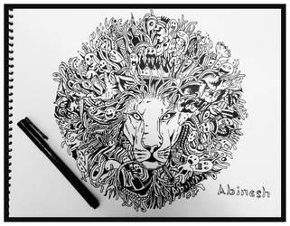 lion doodle trouble by pegucool