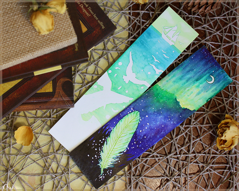 Watercolor bookmarks - Watercolor Bookmarks Ship And Northern Lights