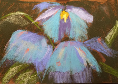 Ten Minute Painting - Soft Pastels Blue Flower by virtuosoale