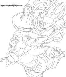 Ssj3 Goku Vs Kid Buu Lineart By Blaze125521-d4d2od