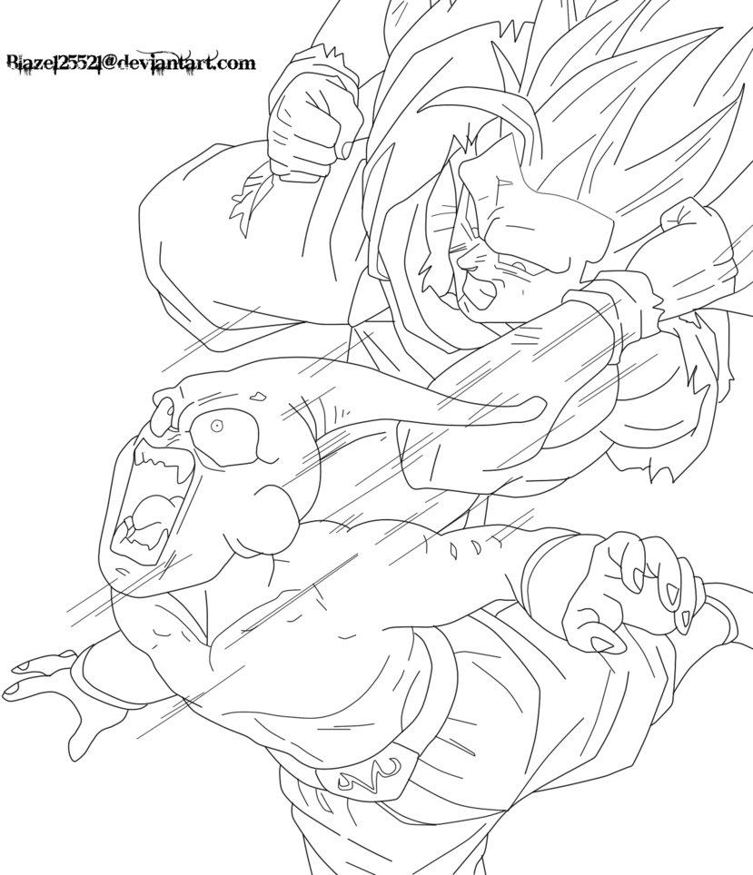 Ssj3 Goku Vs Kid Buu Lineart By Blaze125521 D4d2od Gogeta1123