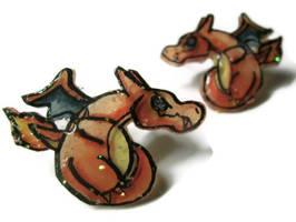 Charizard Pokemon Shrink Plastic Stud Earrings by VeiledSkull