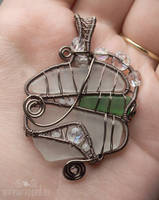 Sea glass vitrail pendant by ukapala