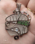 Sea glass vitrail pendant