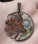 Steampunk moon pendant
