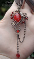 Steampunk gothic red pendant