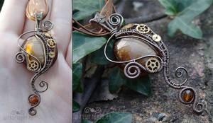 Art noveau steampunk pendant