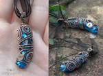 Blue steampunk pendant