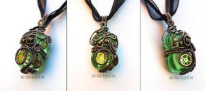 Green steampunk pendant