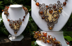 Brown steampunk necklace by ukapala