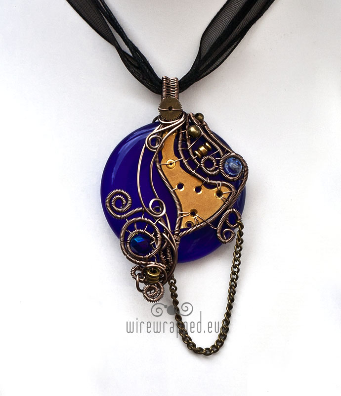 Cobalt blue steampunk pendant by ukapala