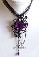 Asymmetric purple goth pendant by ukapala