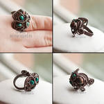 Jasper and turquoise ring