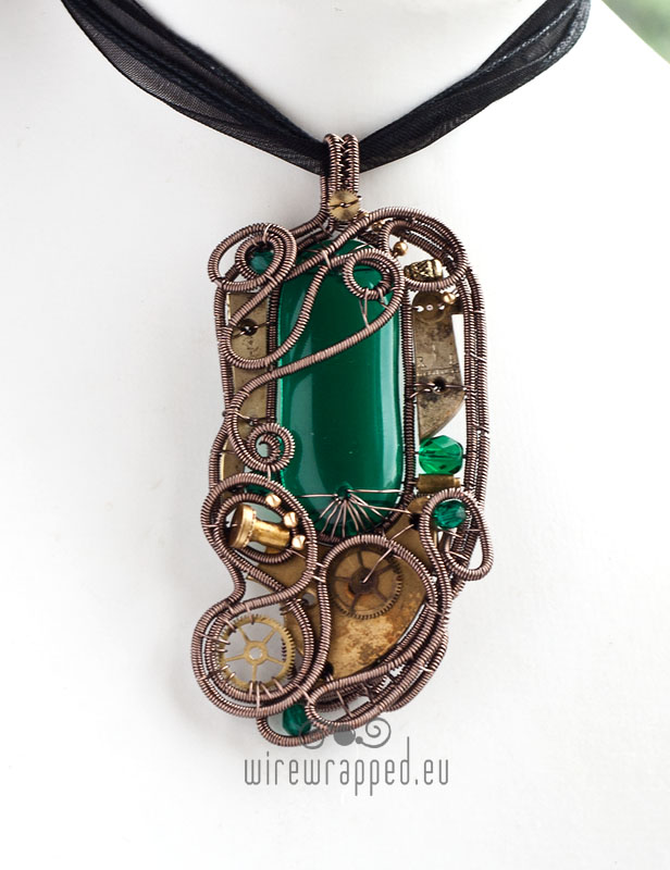 Teal steampunk mad scientist pendant by ukapala