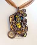 Gold steampunk mad scientist pendant