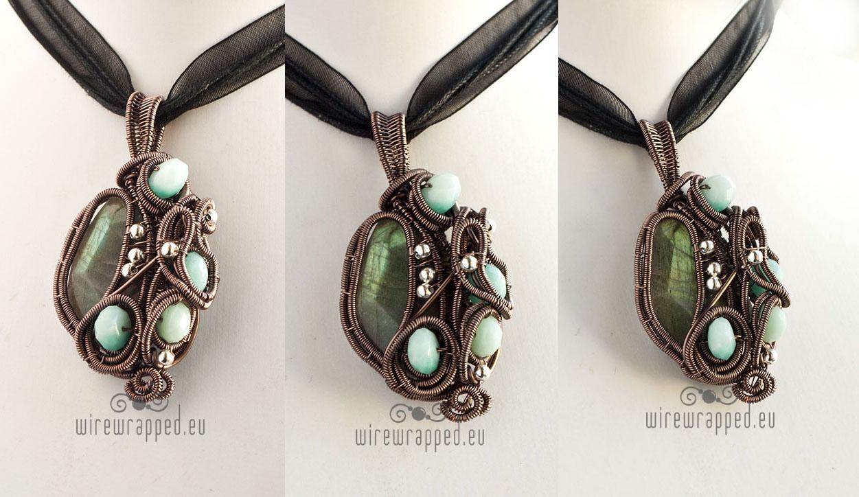 Labradorite and amazonite pendant by ukapala