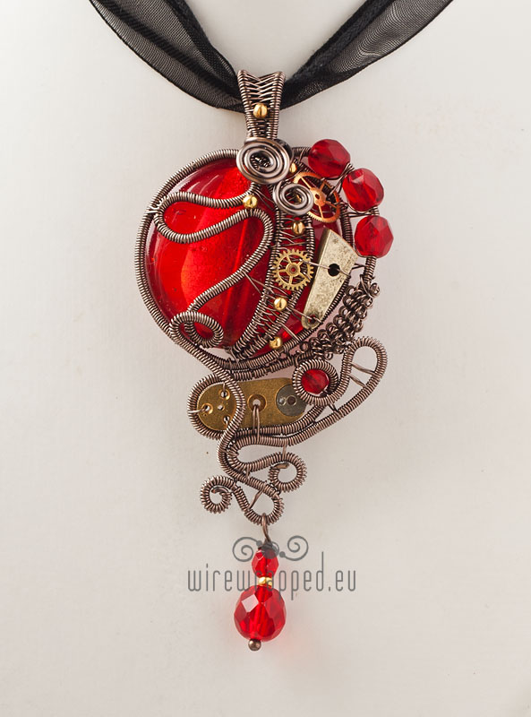 Red round steampunk pendant by ukapala