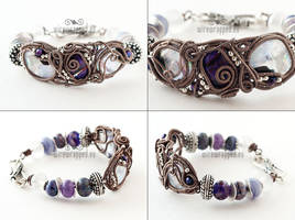 Wire wrapped purple and lilac cuff bracelet by ukapala