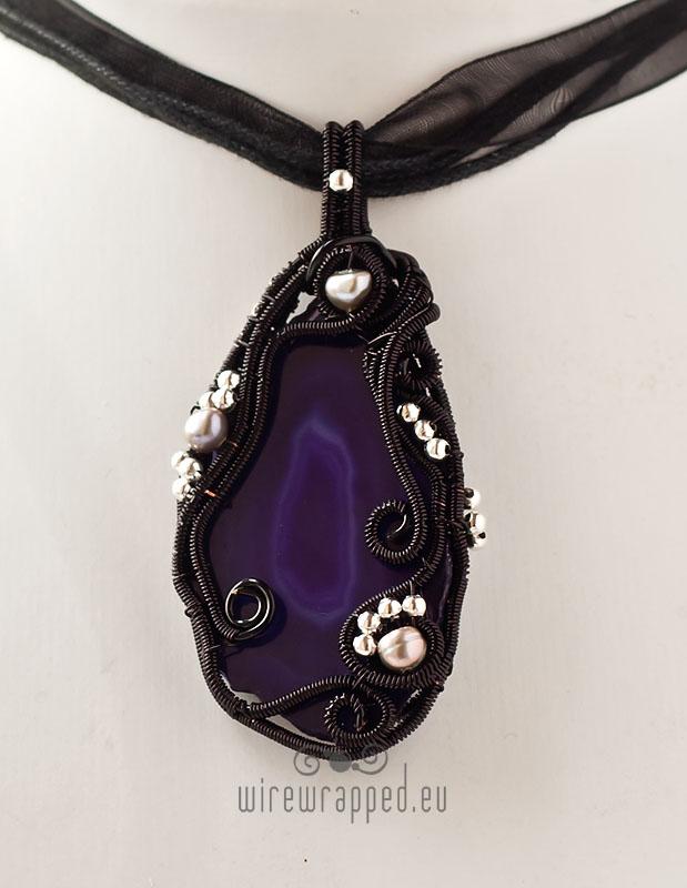 Purple agate gothic pendant by ukapala