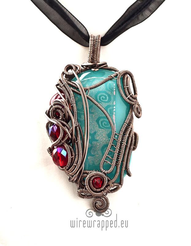 Aqua blue and red freeform pendant by ukapala