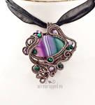 Green and purple striped agate pendant