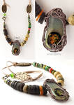 Earthy tones tribal inspired necklace