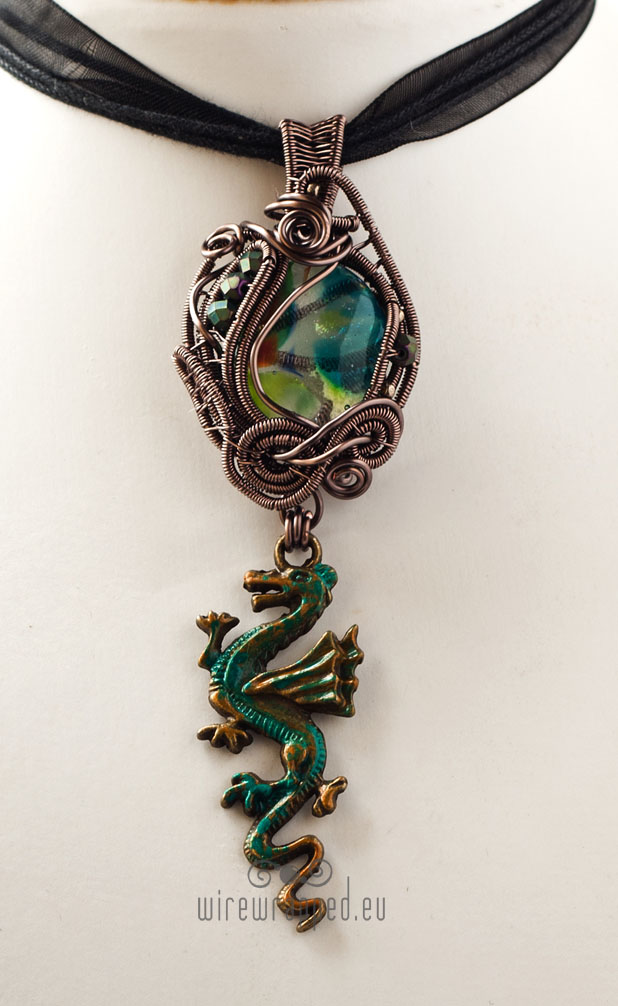 Teal and green dragon charm pendant by ukapala