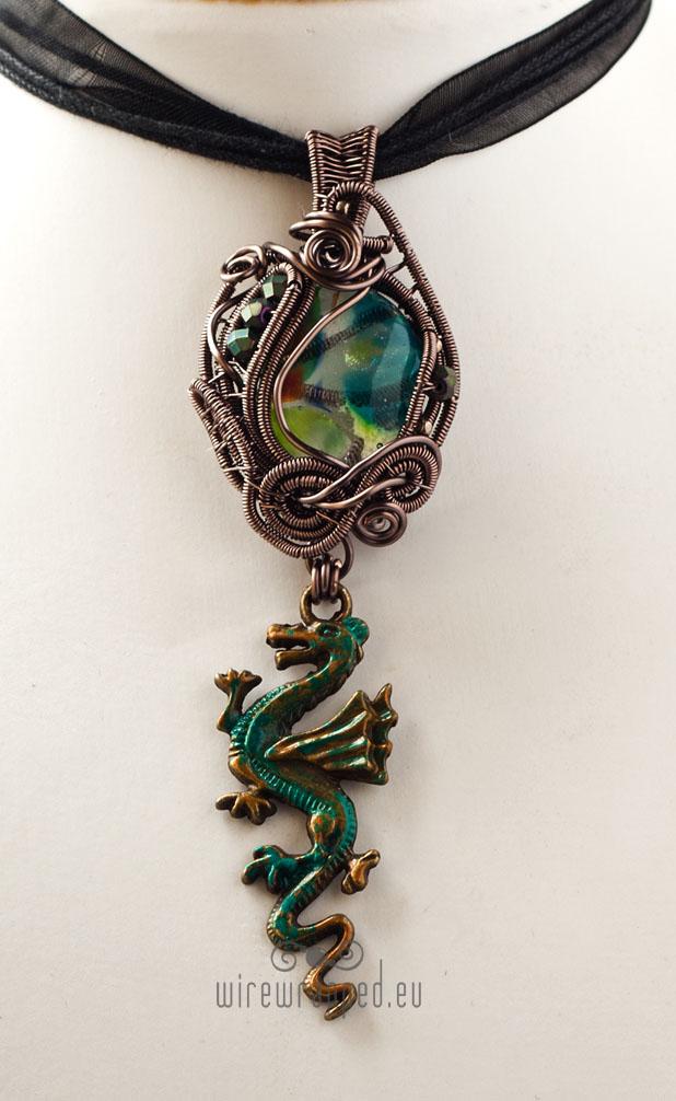 Teal and green dragon charm pendant by ukapala