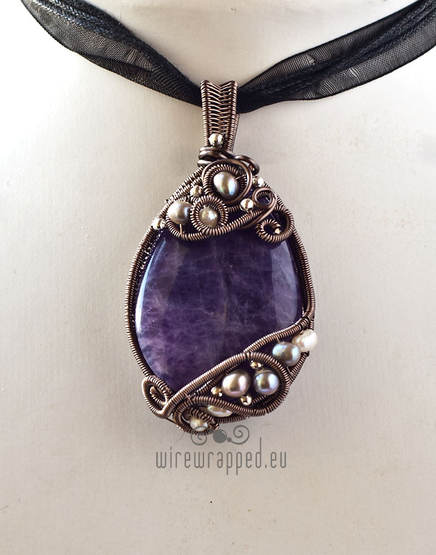 Amethyst and pearls wire wrapped pendant by ukapala on deviantart amethyst and pearls wire wrapped pendant by ukapala aloadofball Gallery